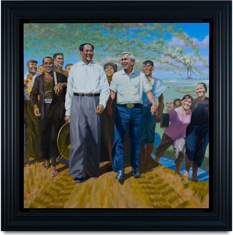 "Great Leaders Accomplishing Mission of Mutual Enrichment!, 2010, oil on canvas. 36"" x 36"""